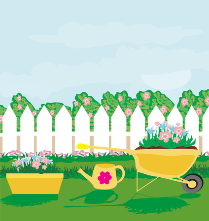 Planting flowers in the garden. Illustration