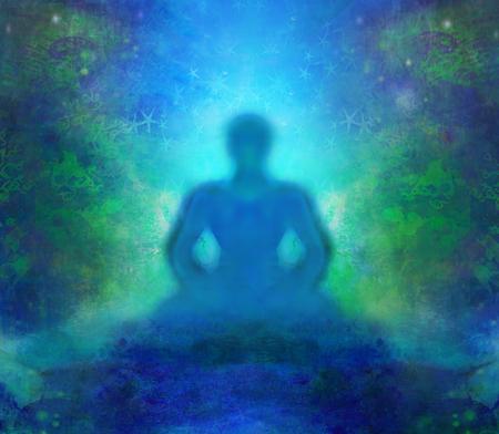 spiritual energy: Man silhouette meditate, yoga