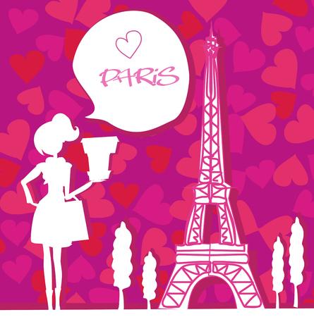 Beautiful women Shopping in Paris card.