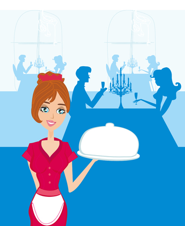 Waitress serving dish
