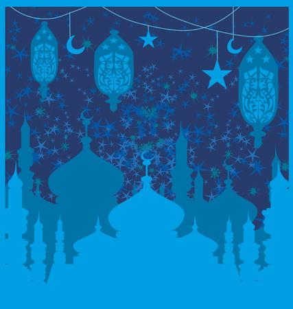 mohammad: Ramadan background - mosque illustration card Illustration
