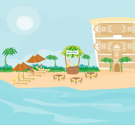 Cafe on tropical beach Illustration