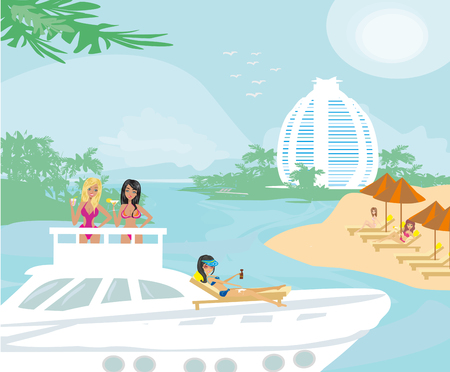motorboat: Party on the yacht Illustration