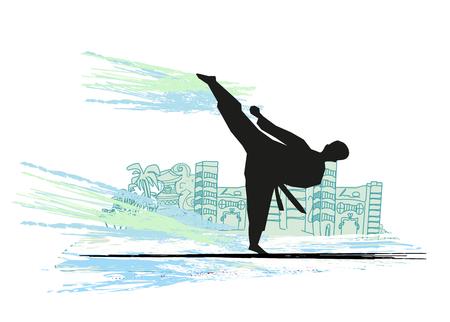 kumite: creative abstract illustration of karate fighter