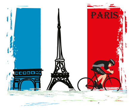 Cycling in Paris - Grunge Poster Illustration