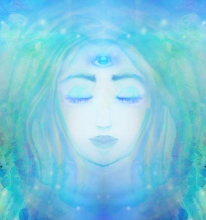 第三の目を持つ女性は、精神的な超自然的な感覚します。