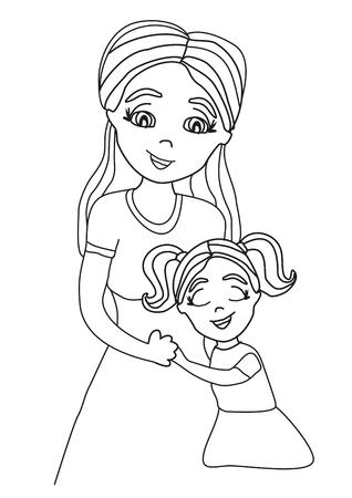 Daughter hugging her mom. Illusztráció