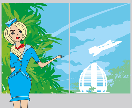 Beautiful stewardess  at the airport Illustration