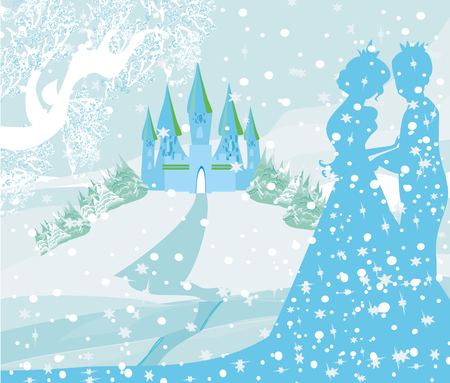 Schloss und Prinzessin mit Fürsten Standard-Bild - 77738109