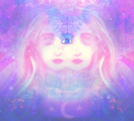 psychic: Woman with third eye, psychic supernatural senses