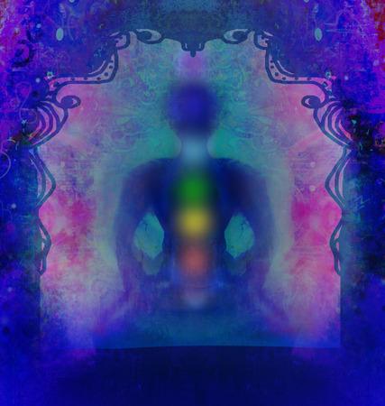 energy healing: Yoga lotus pose. Padmasana with colored chakra points