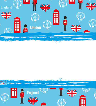 bearskin hat: London landmarks symbols frame Illustration