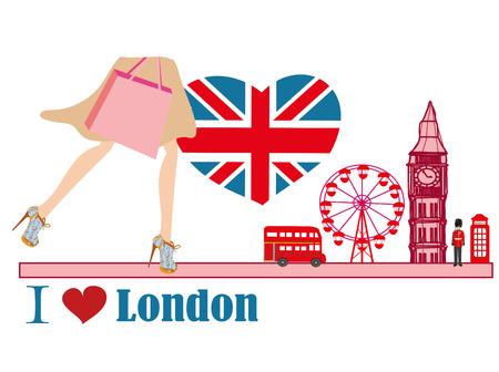 bearskin hat: woman shopping in London card