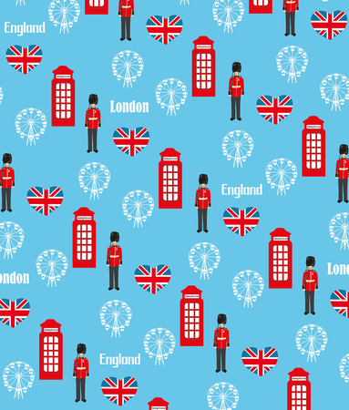 bearskin hat: Seamless pattern background with London symbols