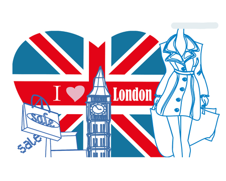 Donna shopping in carta di Londra