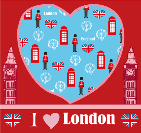 bigben: London landmarks symbols card Illustration