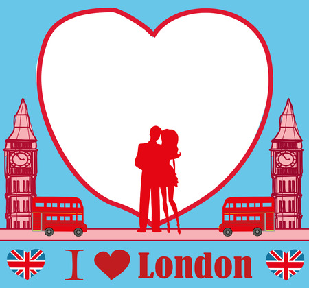 Romantic couple in London card