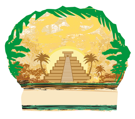 Mayan Pyramid, Chichen-Itza, Mexico - grunge abstract background