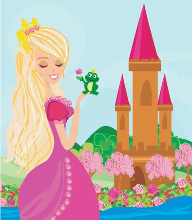 Beautiful young princess and big frog