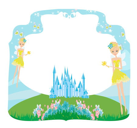 Fairytale frame with little fairies