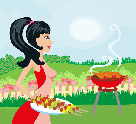 Woman cooking on a grill Illustration