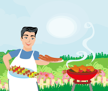 Man Cooking meat on Grill Illustration