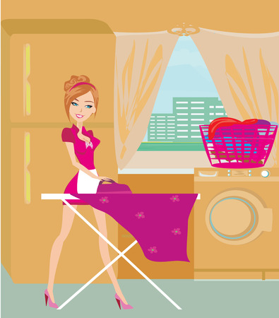 Housewife ironing clothes at home Illustration