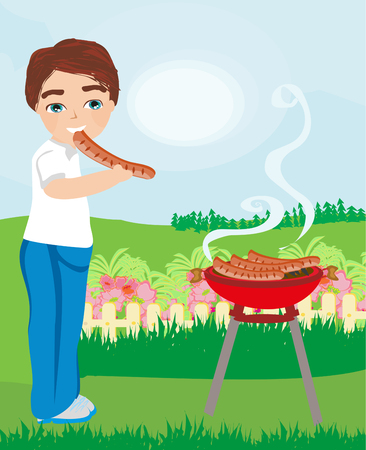 Boy eat sausage fried on the grill Illustration