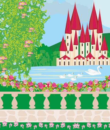 Paysage avec un beau château, des jardins et des cygnes Banque d'images - 78908497