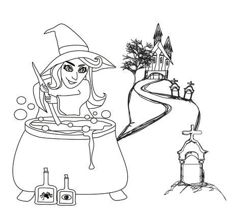 Halloween witch preparing potion - doodle Illustration