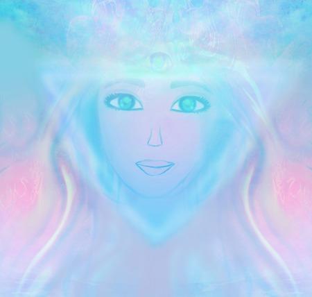 psychic: Woman with third eye, psychic supernatural senses  Stock Photo