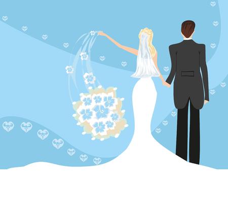 Wedding couple, bride throws her wedding bouquet Illustration