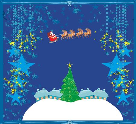 santa sleigh: Happy New year card with Santa