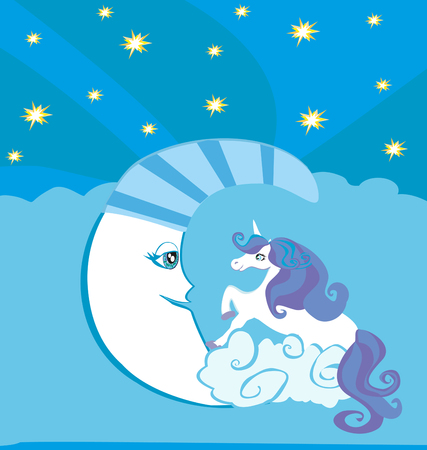 sorceress: Cute magic unicorn and moon