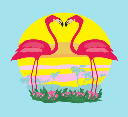 sunset and pink flamingos Vetores