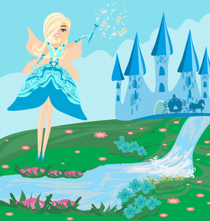 Illustration of a fairy, Castle and a carriage