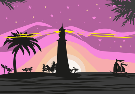 Lighthouse seen from a tiny beach Illustration