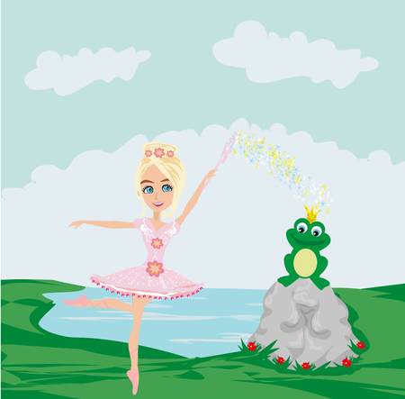 Frog with a crown And fairy ballerina Illustration