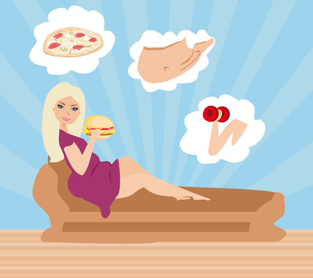 Fat girl eating hamburger