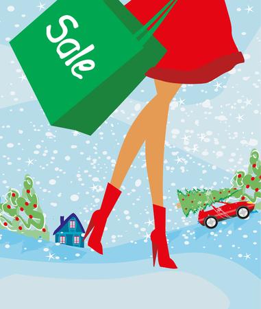 mujer en el supermercado: Christmas shopping - winter sale card Vectores