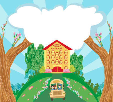 schoolkids: School bus with happy children Illustration
