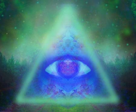 Illustration of a third eye mystical sign Stok Fotoğraf