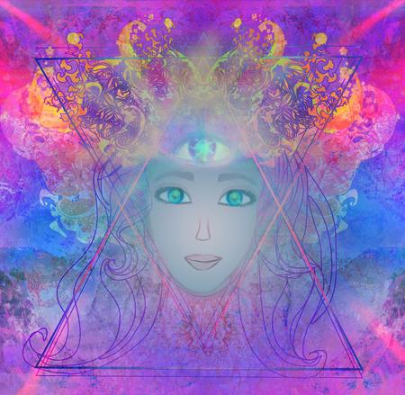 Vrouw met derde oog, psychische bovennatuurlijke zintuigen Stockfoto