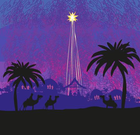 Biblical scene - birth of Jesus in Bethlehem. 向量圖像