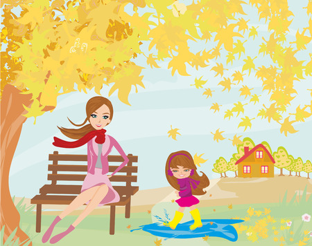 Fun in the autumn day Illustration