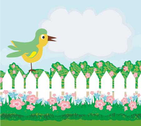 fall leaves: bird and flowers cartoon border in summer Illustration