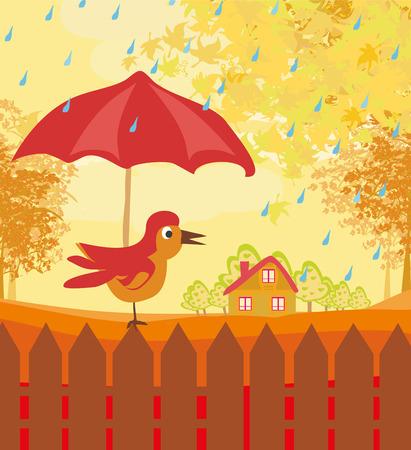 rural road: Autumn Bird Illustration