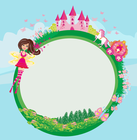 Fairytale frame with castle and carriage Illustration