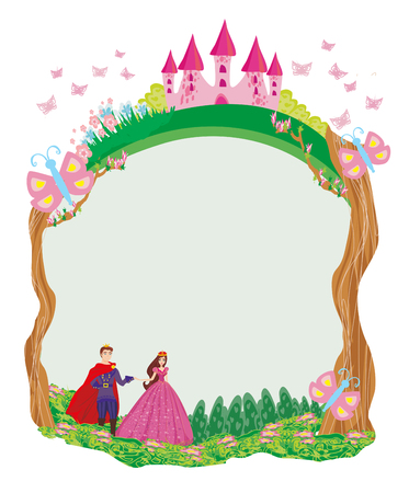 Beautiful prince and princess in the garden - frame
