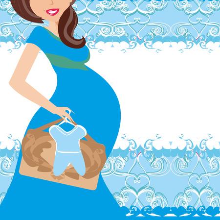 awaiting: Its A boy! - pregnant woman card